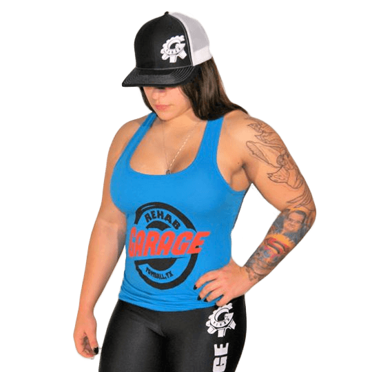 Rehab Garage blue tank top, black compression pant for female wearing a black hat transparent background